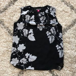 Black and white flowered blouse